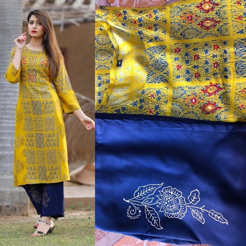 Wedding - Beautiful Digital print Rayon Yellow and Blue Print kurti plazzo for Girls&Women