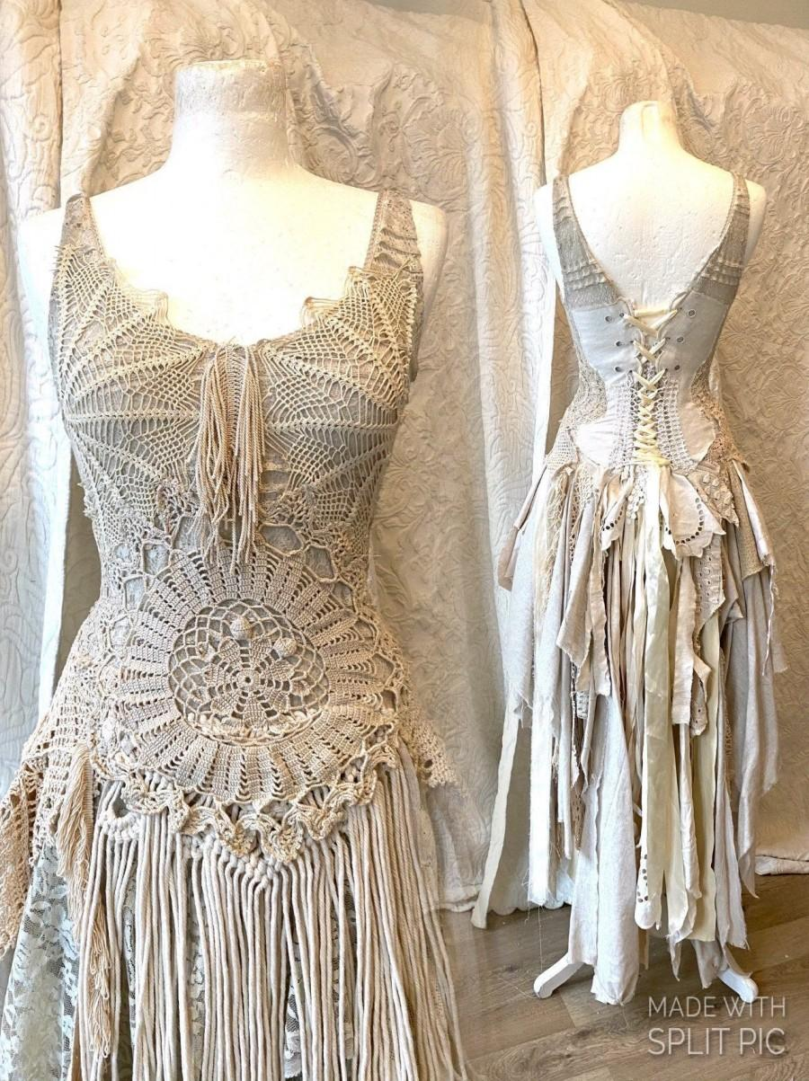 Mariage - Boho wedding dress macrame,bridal gown macrame,beach wedding dress macrame,open back wedding dress, boho wedding dress sand ,rustic wedding