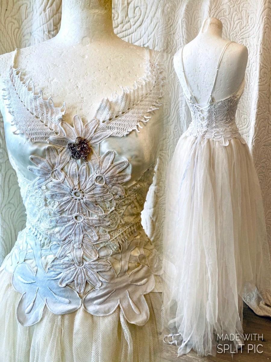 Hochzeit - Wedding dress tattered look , alternative wedding dress,beach wedding dress,wedding dress lace,