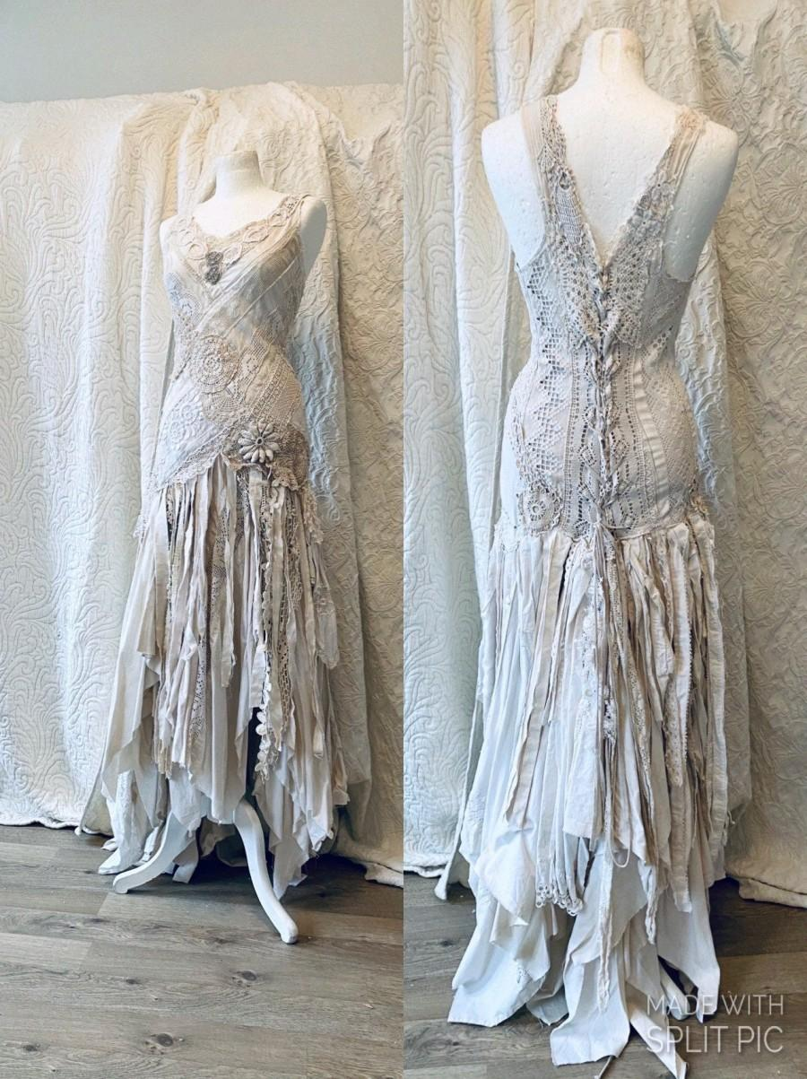 Wedding - Cotton Wedding dress fairy goddess,ethereal bridal gown,bridal gown cream,boho wedding tattered