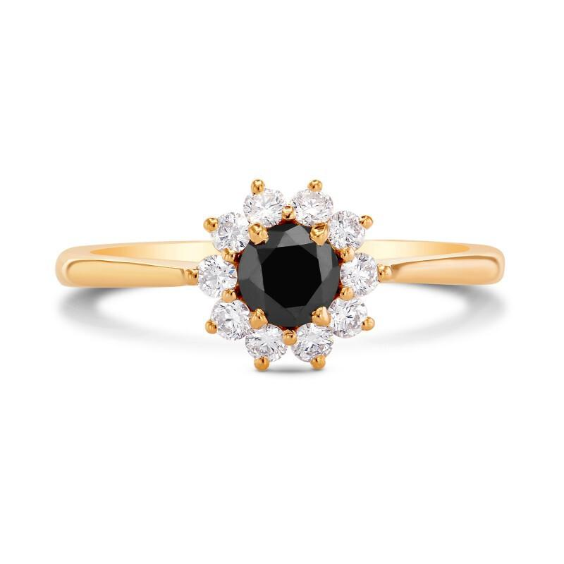 Hochzeit - 0.50 Carat Black Diamond Cluster Ring In Yellow Gold