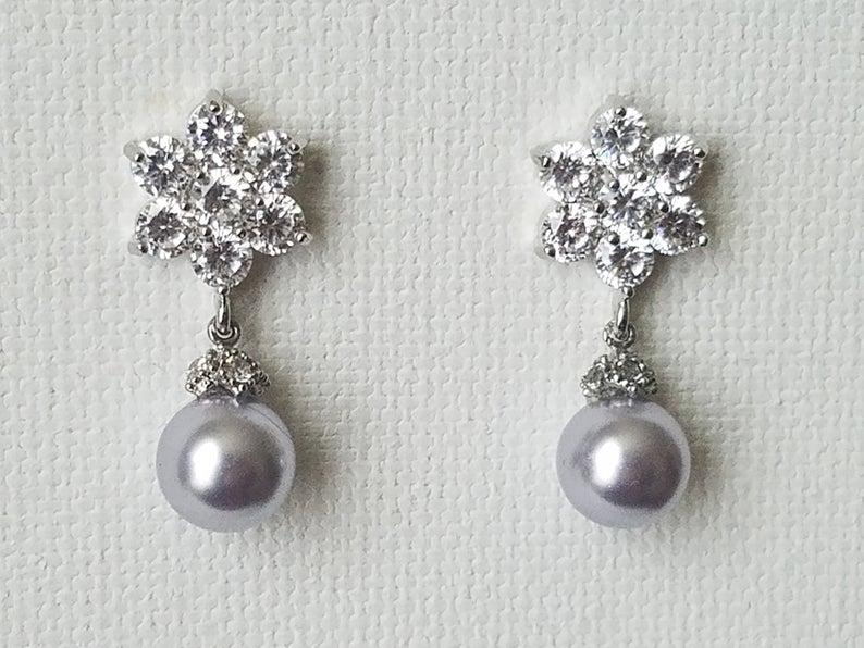 Wedding - Pastel Lavender Pearl Bridal Earrings, Wedding Lilac Pearl Earrings, Swarovski Lavender Pearl Drop Earrings, Lilac Silver Flower Earrings