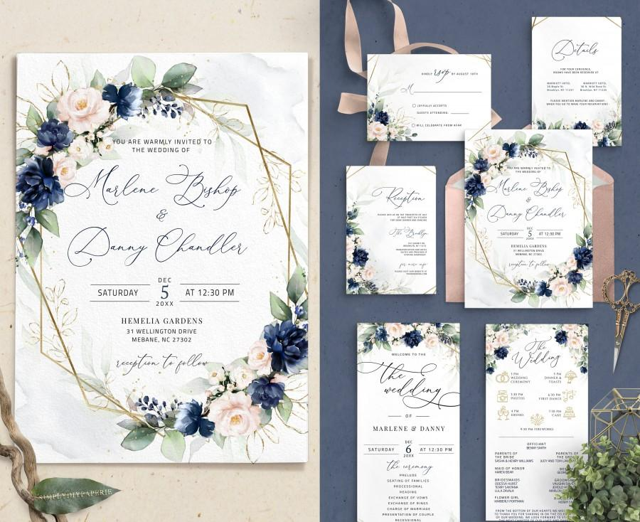 Wedding - Navy and Blush Wedding Invitation Suite Template, Geometric Wedding Set, Blue Navy and gold, blush and navy invite, Wedding Bundle Set, NAVI