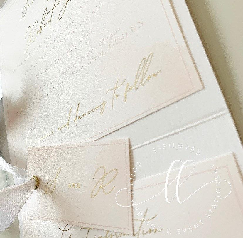 Wedding - Blush and gold goil pocketfold wedding invitation watercolour detail