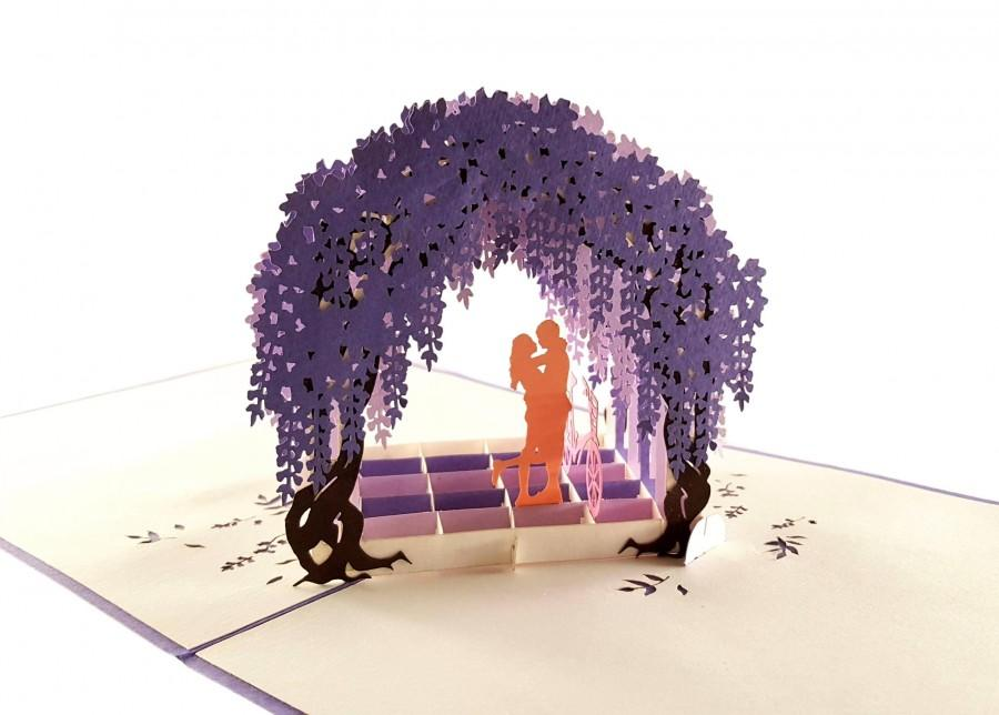 Wedding - Cute Wisteria Arbor 3D Pop Up Greeting Card - Romantic, Private, Dreamy, Just Because, Thinking of You, Engagement, Anniversary, Engagement