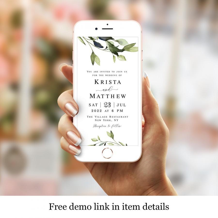 زفاف - Greenery Wedding Evite, Electronic Invitation Template, Text Message Invite, Phone, Cell Phone, Smart Phone, iPhone, Simple, Outdoor #vmt43