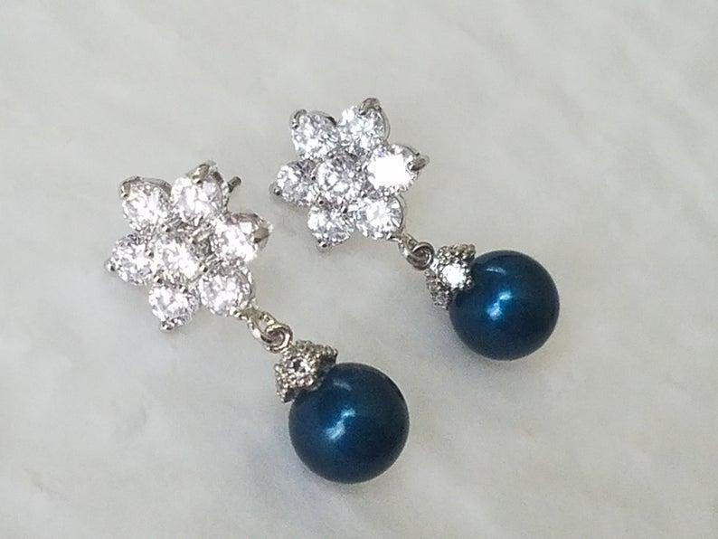 زفاف - Peacock Pearl Silver Earrings, Swarovski Petrol Pearl Drop Wedding Earrings, Dark Teal Pearl CZ Flower Earrings, Wedding Peacock Jewelry