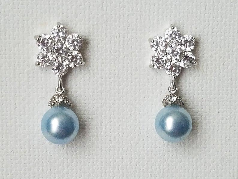 Hochzeit - Light Blue Pearl Earrings, Swarovski Light Blue Pearl Drop Silver Earrings, Blue Pearl Bridal Earring, Flower CZ Pearl Earrings Blue Jewelry