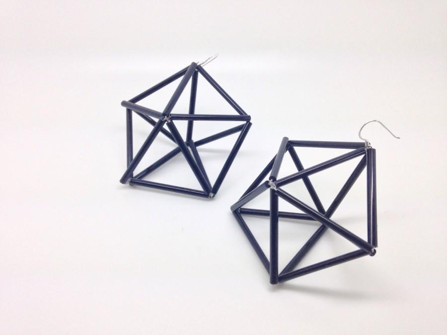 زفاف - Geometric unusual bagle bead earrings, fashionable jewellry, 3D art, non-traditional chromostyle geometry modern accessories