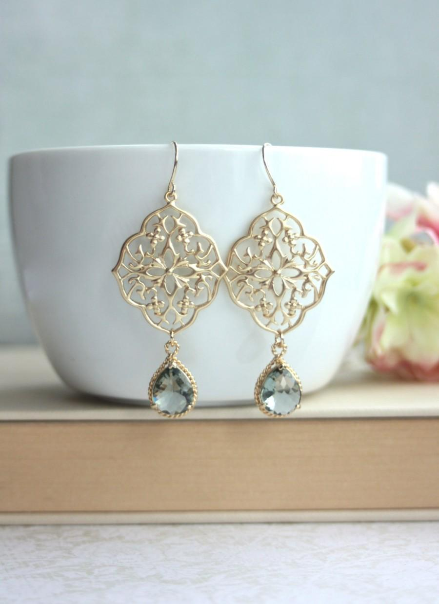 زفاف - Grey Art Deco Earrings, GypsyFiligree Earrings, Ornate Earrings, Chandelier Earring, Grey Black Earring, Gold Boho Earring, Bridesmaids Gift