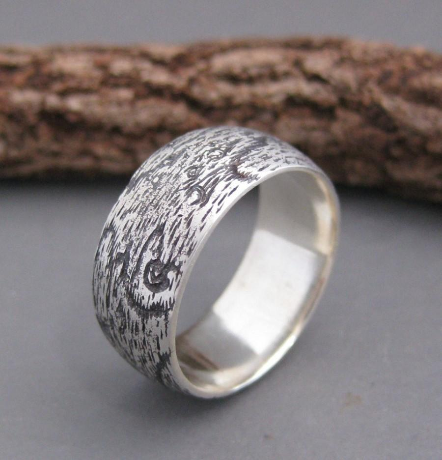 Свадьба - WIDE woodgrain ring BIRDSEYE MAPLE 8mm sterling Made To Order