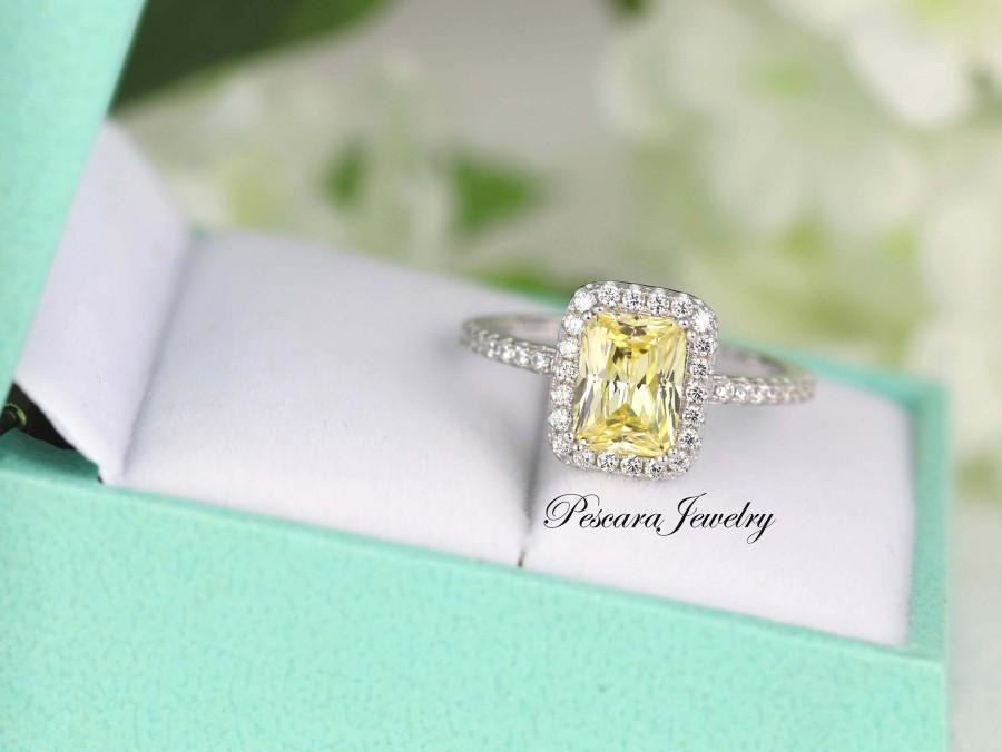 Wedding - 1.88ctw Light Canary Emerald Radiant Cut halo engagement ring, promise ring, wedding ring, anniversary ring, sterling silver