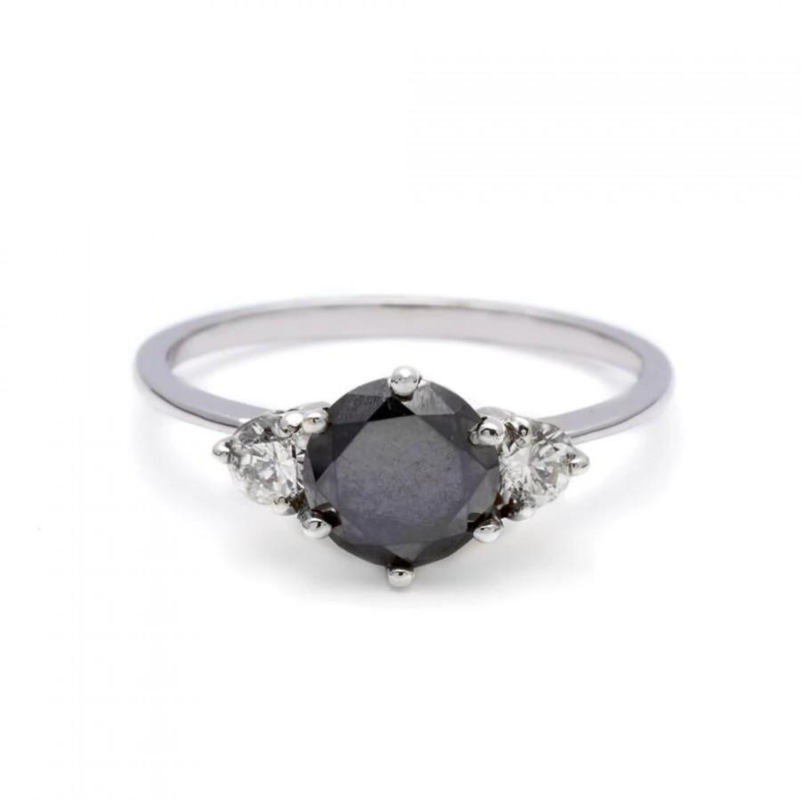 Mariage - 1 Ct 3 Stone Black Diamond Ring In White Gold