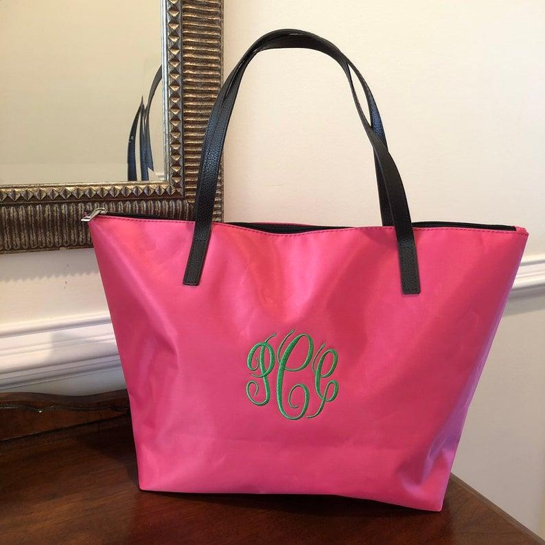 Wedding - Pink Monogram Tote Bag, Womens Tote Bag Personalized Multipurpose Tote Bag, Nylon Tote Bag, Bridesmaids Gifts, Gift for her, Market Bag