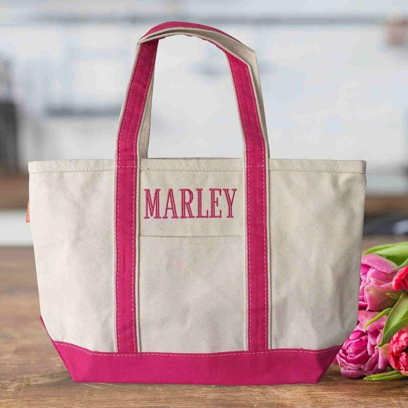 Wedding - Personalized Canvas Tote Bags with Zipper Medium Canvas Beach Tote Bag 3 Sizes Various Colors Bridal Party Bags