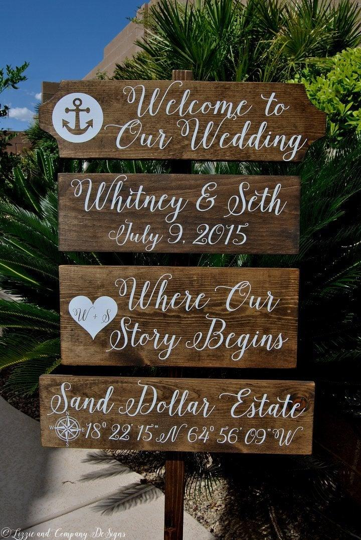 Wedding - Welcome Wedding Sign, Large Custom Beach Sign, Directional Beach Sign, Beach Wedding Sign, Nautical Wedding Sign, Anchor Sign, 4ft Stake