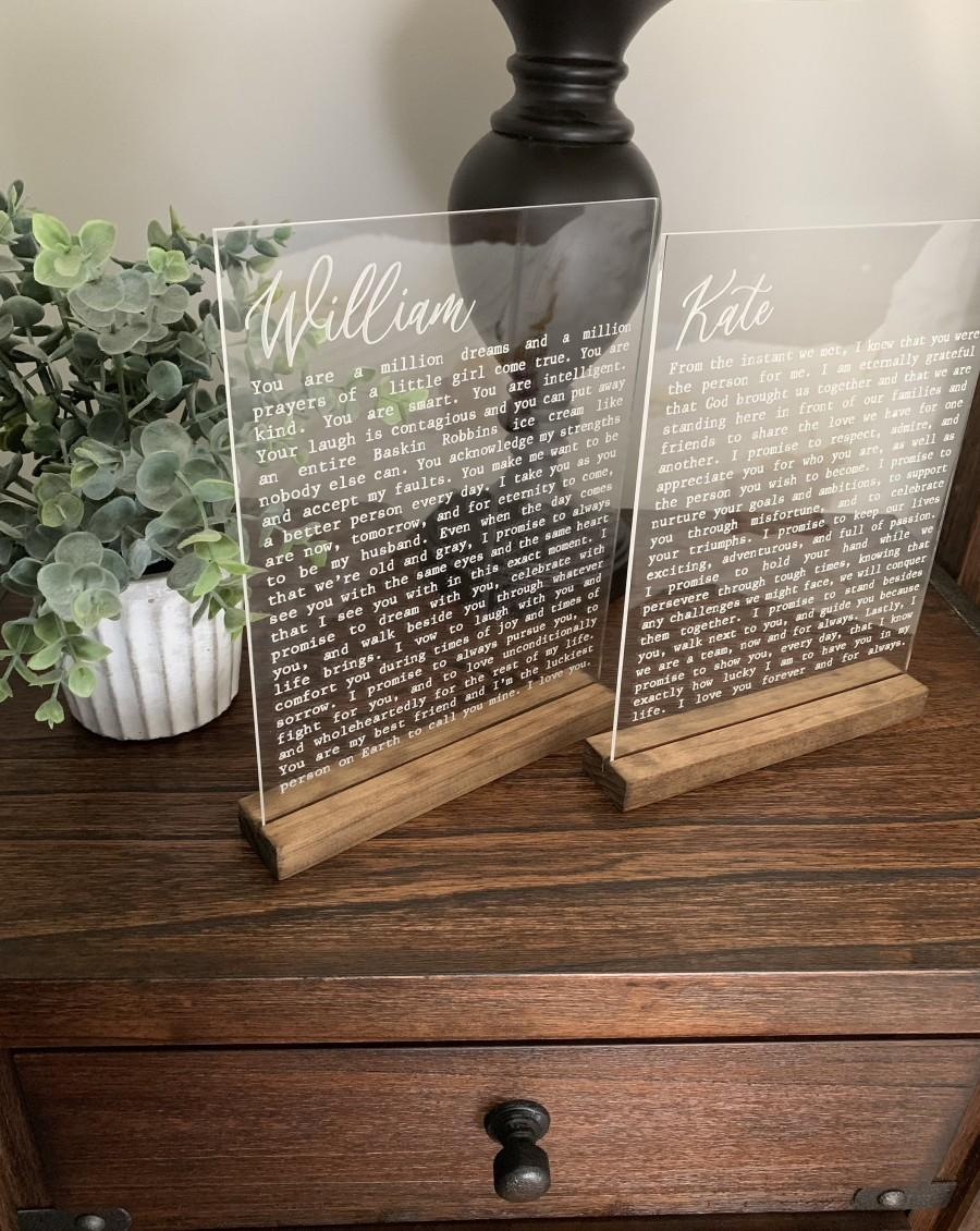 Wedding - Engraved Vows on Acrylic