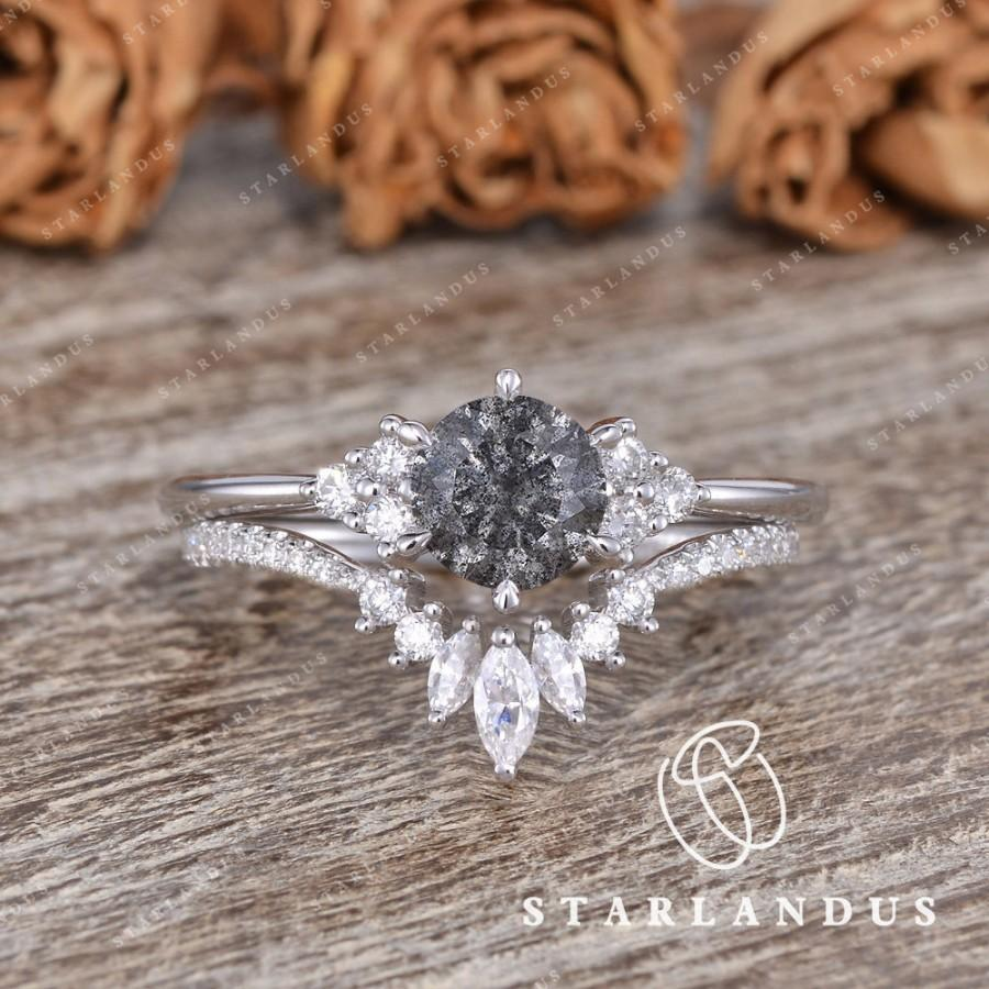 Hochzeit - Salt and Pepper Moissanite Ring Set 2pcs 1ct Engagement Ring White Gold Matching Marquise Cluster Diamond Ring Unique Dust Space Universe