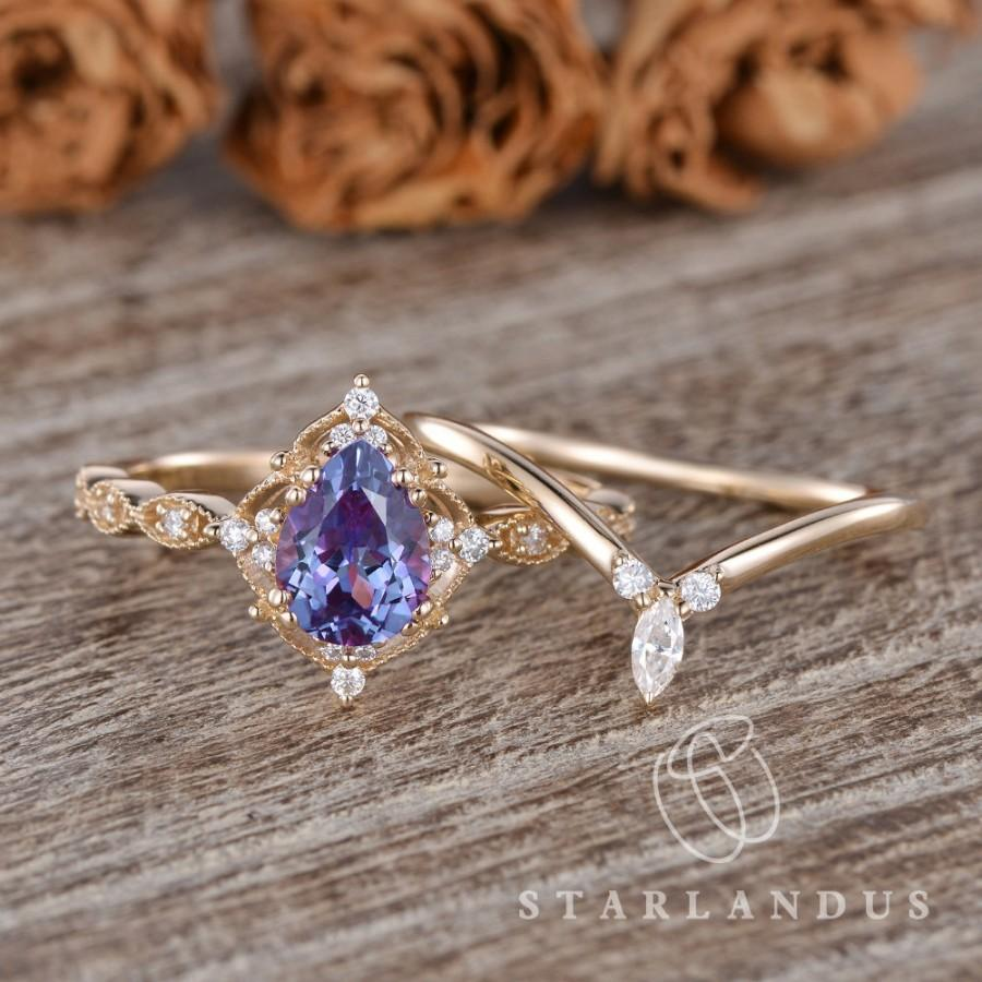 Wedding - Lab Alexandrite Engagement Ring Unique Marquise Stacking Band Rose Gold 2pcs Vine Flower Rings Pear Alexandrite Brilliant Ring Chevron Ring