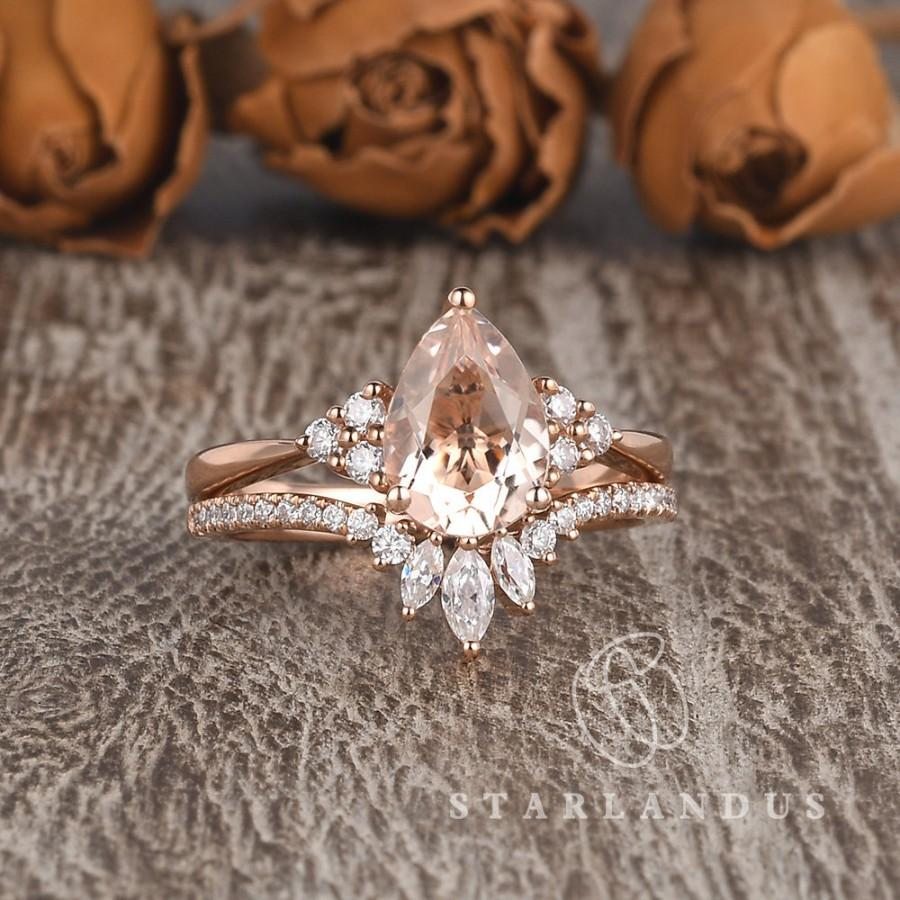 Wedding - 1.5ct Pear Shaped Morganite Ring Rose Gold Bridal Set Cluster Wedding Unique Morganite Engagement Ring Marquise Moissanite Chevron 2pcs