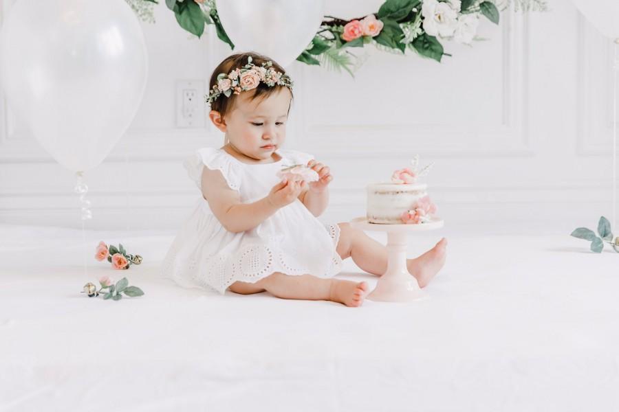 Wedding - Blush flower crown, Baby halo, Baby floral crown, Rustic child flower crown, Child headband, Flower girl baskets, Baby belt for dress