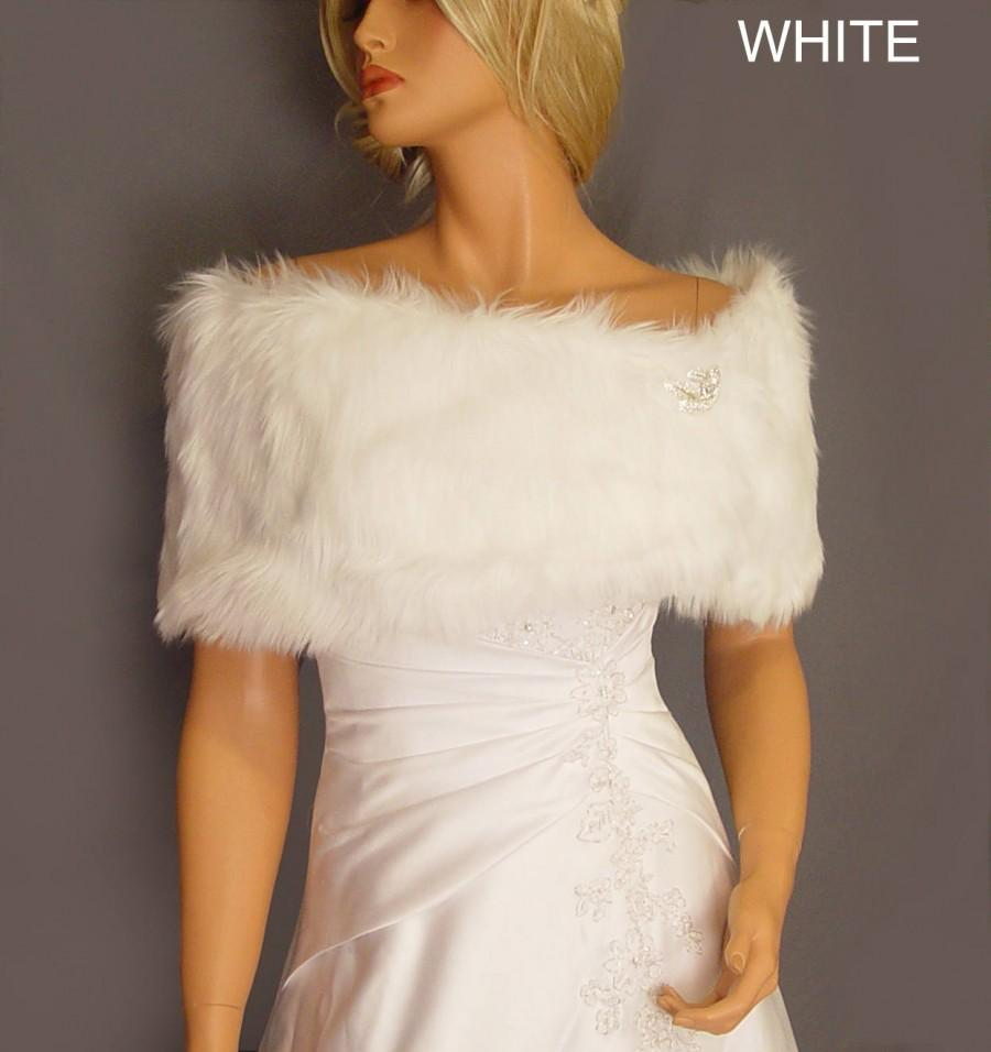 Wedding - faux fur shrug stole bridal wrap wedding in Angora bridesmaid cover up evening winter fur shawl for ball FW200 AVL in white & 3 other colors
