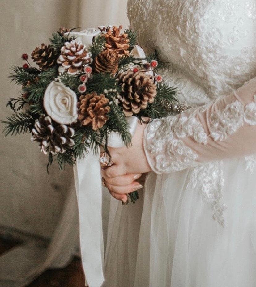 Wedding - Wedding Bouquet, Bridesmaid bouquet, Dried Bouquet, bouquet, pine cone Bouquet, Fall Bouquet, Bridal Bouquet, Sola flower bouquet, gold