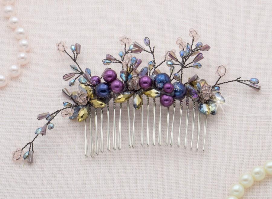 Hochzeit - Mermaid Crown Purple Hair Comb Purple Wedding Dress Accessory Gothic Wedding Flower Crown Bridal Hair Comb Purple Wedding Hair Comb