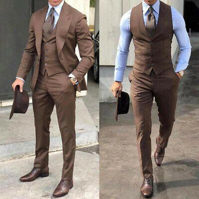 Wedding - Men Suits, Luxury Brown 3 Piece Wedding Suits, Groom Wear One Button Coat Vest Pant Suits,