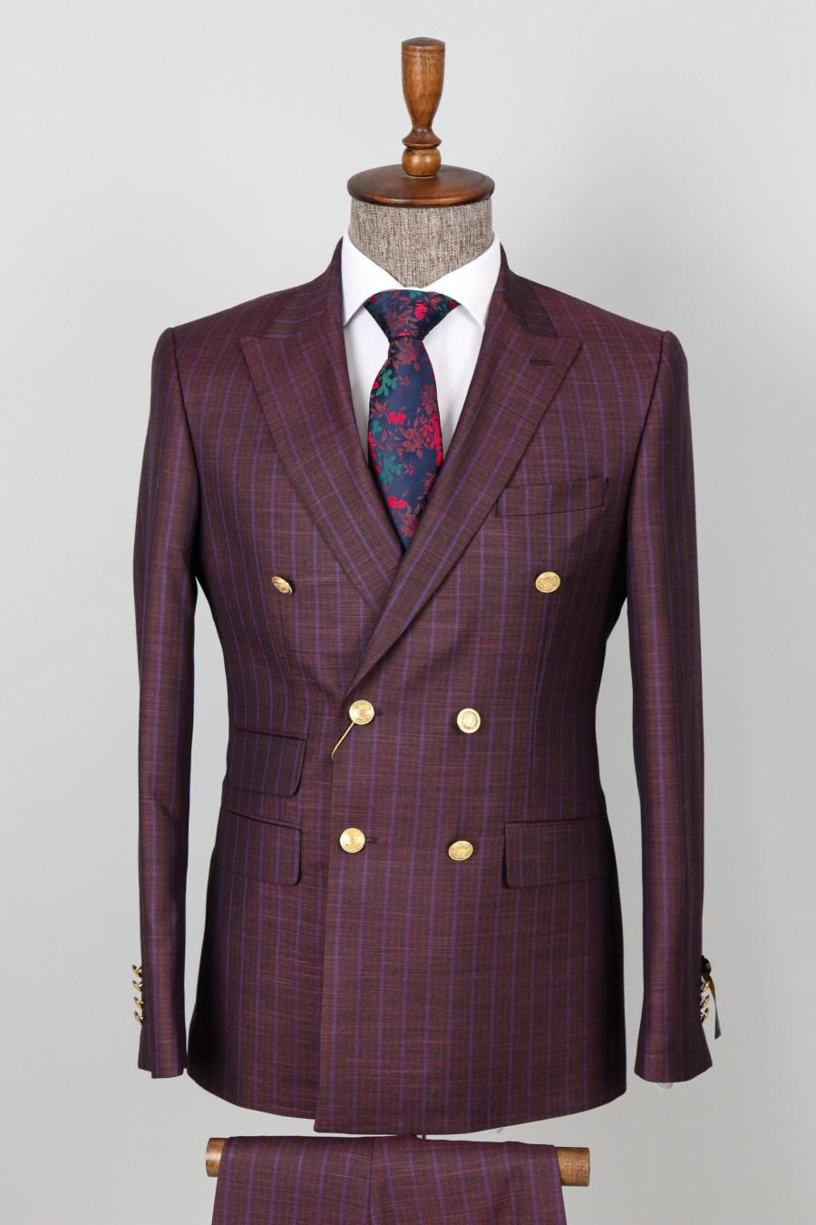 Свадьба - Double Breasted Maroon, Striped - Golden Button Men Suit