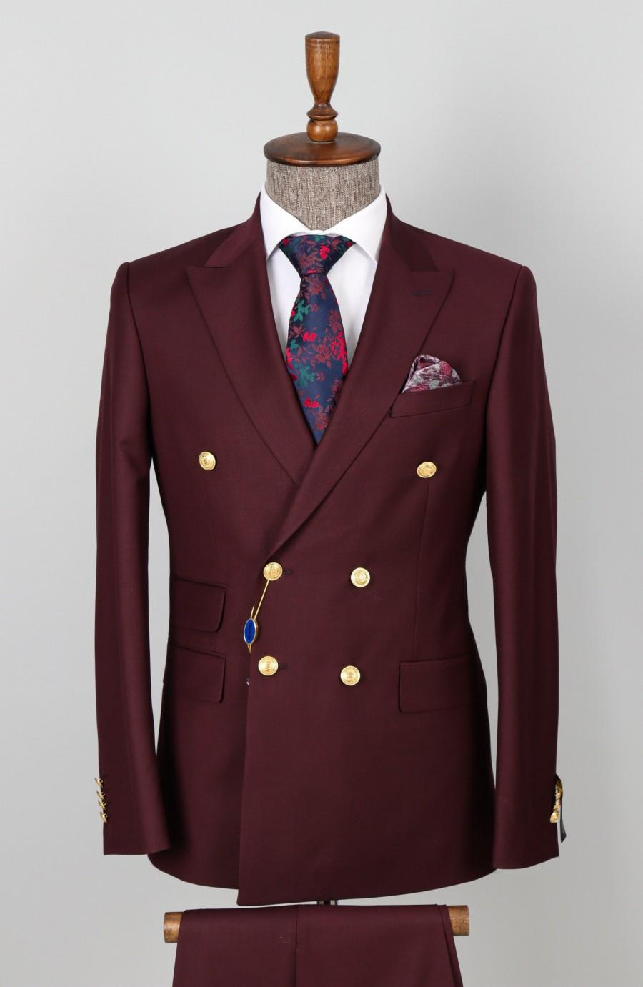 Hochzeit - Double Breasted Maroon - 6 Button Button Men Suit