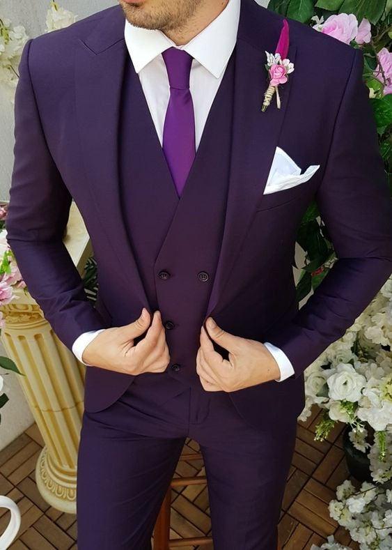 Wedding - Men Wedding Suit Purple Groom 3 Piece Suit Slim Fit Formal Wear One Button Dinner Suit