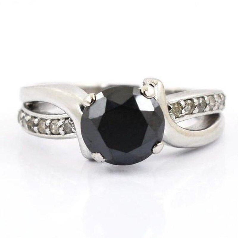 Wedding - 2 Carat Black Diamond Solitaire Ring With Accents