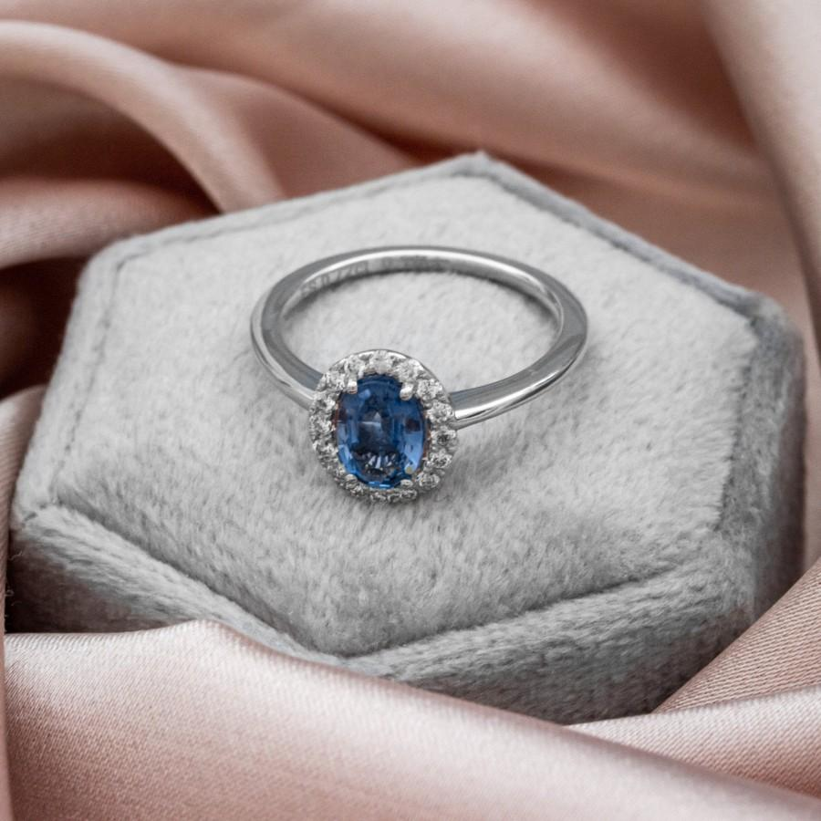Wedding - Blue Fancy Sapphire Engagement Ring / Sapphire and Diamond Ring / Sapphire Statement Ring / Oval Cut Genuine Sapphire Ring / Multistone Ring