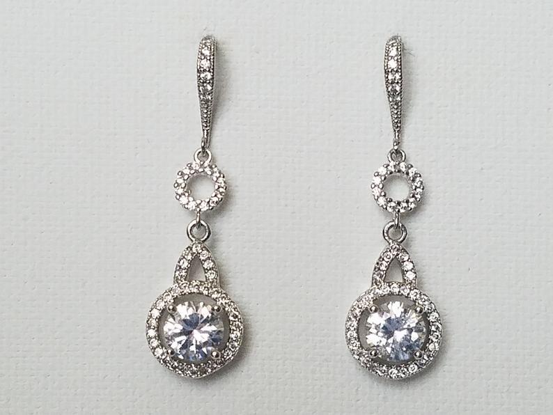 Wedding - Crystal Bridal Earrings, Wedding Cubic Zirconia Halo Earrings, Wedding Chandelier Crystal Earrings, Zirconia Silver Round Bridal Earrings,