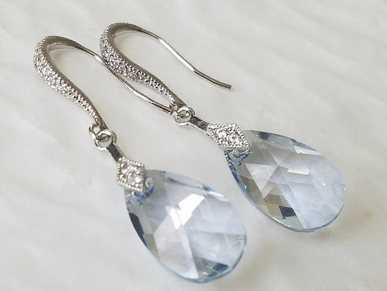 Wedding - Light Blue Crystal Earrings, Swarovski Blue Shade Silver Earrings, Dusty Blue Dangle Earrings, Pastel Blue Earrings, Blue Wedding Jewelry