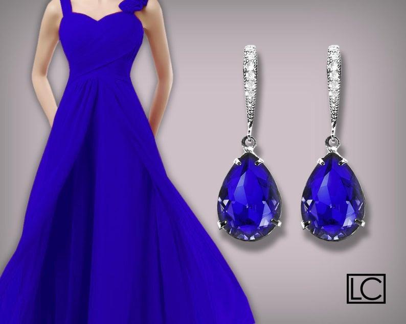 Wedding - Blue Crystal Earrings, Swarovski Majestic Blue Teardrop Earrings, Cobalt Silver Earrings, Sapphire Bridesmaid Jewelry, Royal Blue Earrings