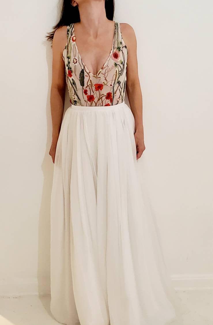 Mariage - Yours & Mine Bridal: Bridal Separates, Bridal Bodysuit,  Bridal Top, Multi-Color Lace Bodysuit, Unique Bridal Top, V-Neck Bodysuit