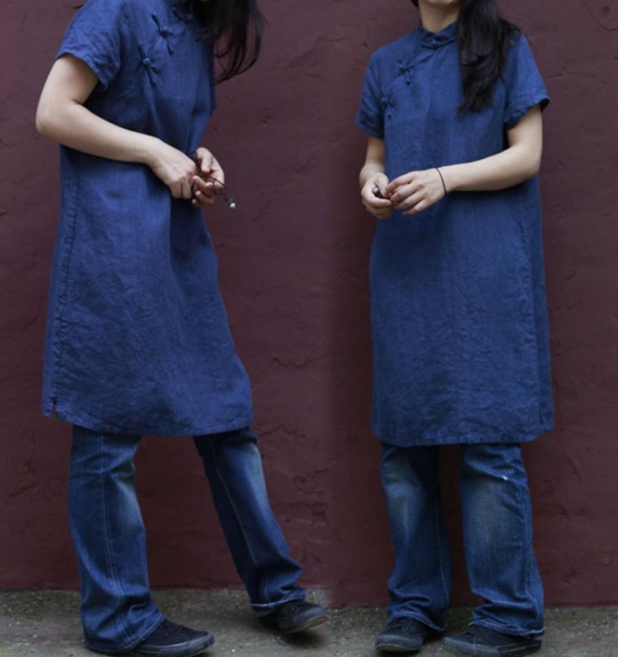 Mariage - 196---Washed Linen Indigo Blue Qipao Dress, Cheongsam, Cheong-Sam, Mandarin Gown, Made to Measure.