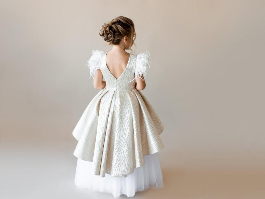 Mariage - Gold flower girl dress with feathers Toddler girl dress Champagne flower girl dress Bridesmaid dress Baby girl dress Special occasion dress