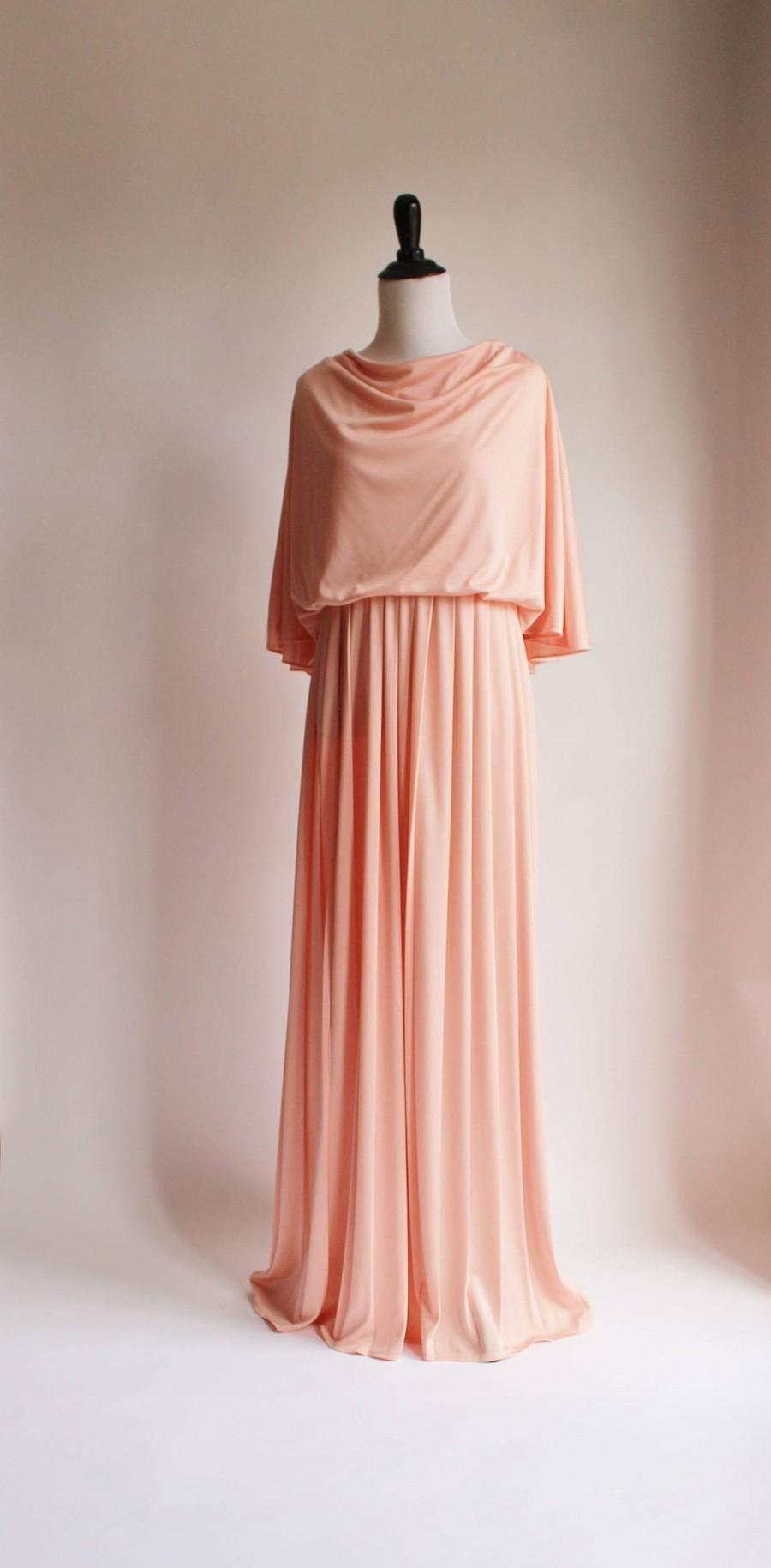 زفاف - Vintage Womens Dress, Cape Dress, Grecian Gown, 70s Pink Maxi Dress