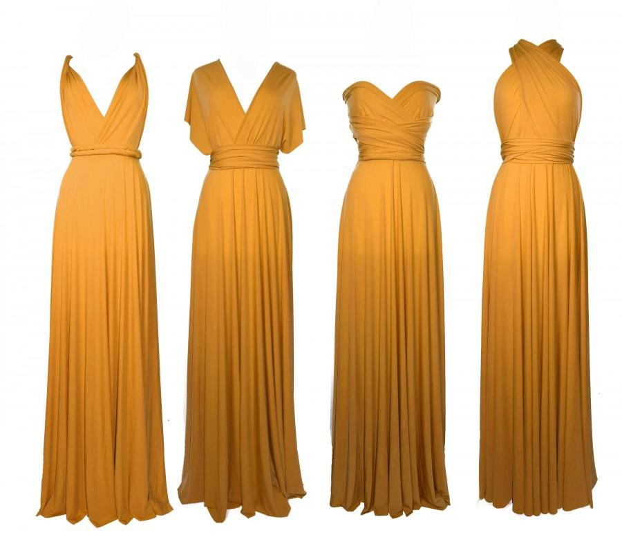 Wedding - MUSTARD Bridesmaid Dress/ CUSTOM LENGTHS/ Convertible Dress /  Infinity Dress/ Multiway Dress/  Multi Wrap Dress /  Plus Size /