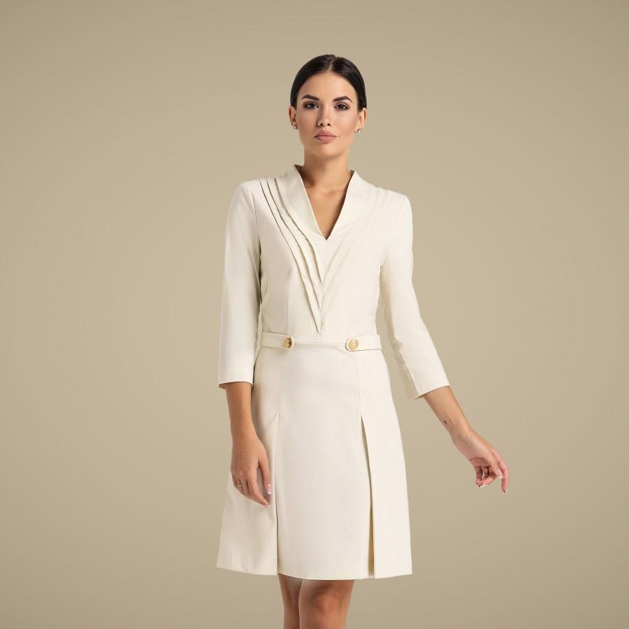 Hochzeit - White Cocktail Dress, Bridesmaid dresses for women, Party Mini work Stand Collar Skater dress, Mandarin office dress TAVROVSKA