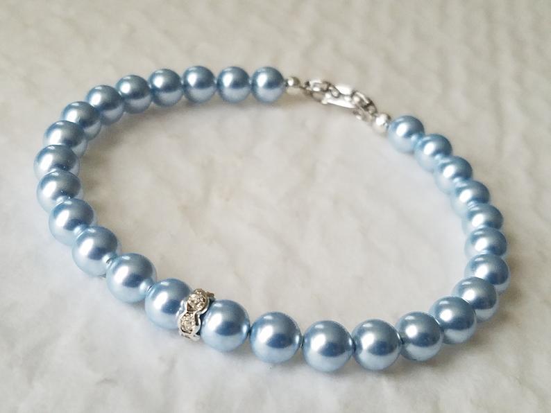 Hochzeit - Blue Pearl Wedding Bracelet, Swarovski Light Blue Pearl Bracelet, Pastel Blue Dainty Bracelet, Blue Pearl Bridal Jewelry, Something Blue