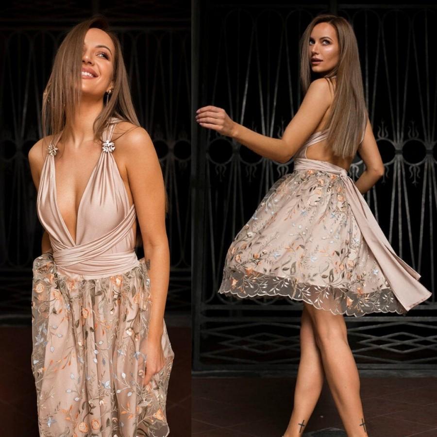 Свадьба - Wedding Guest Dress - Dress Tulle Skirt - Circle Skirt Dress - Nude Bridesmaid Dress - Prom Dress - Multiway Dress - Handmade by TTBFASHION