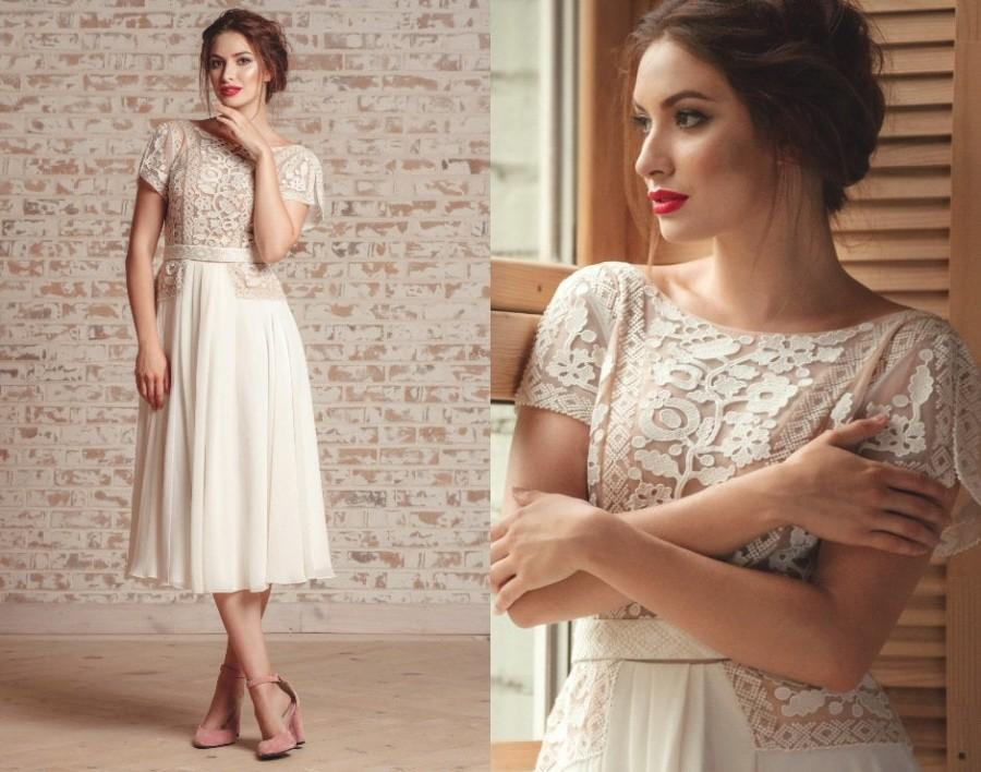 Свадьба - Ivory lace dress with short sleeves - Midi wedding or prom dress - Vyshyvanka embroidered dress - Romantic chiffon dress