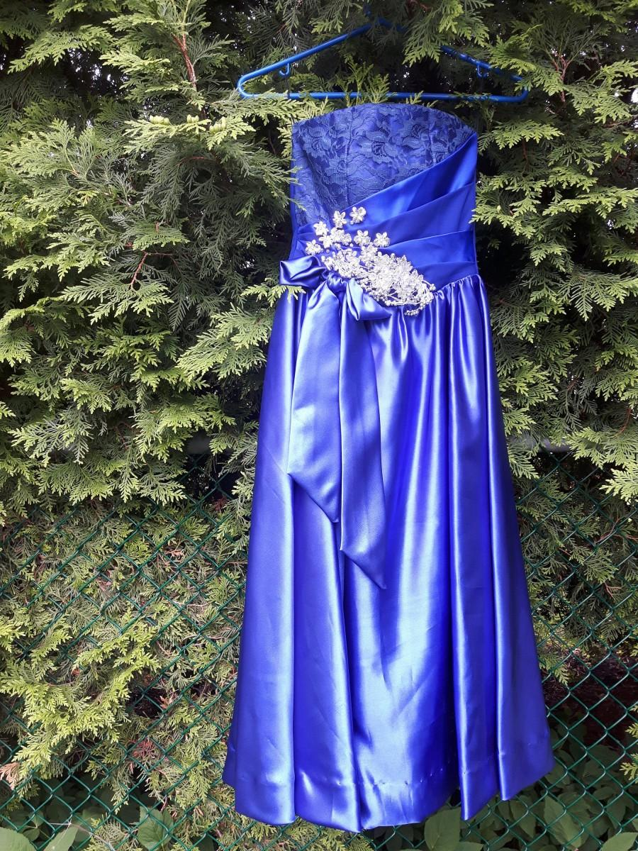 Wedding - Royal Blue Dress for Prom Night, Size Small, Made of  Satin And Lace, Great as a Bridesmaid Dresses or for a Formal Event