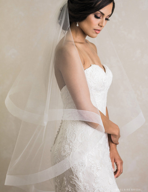 Wedding - Veil Maura - Horse hair veil, two tier veil, fingertip length, veil with blusher, hand made veil