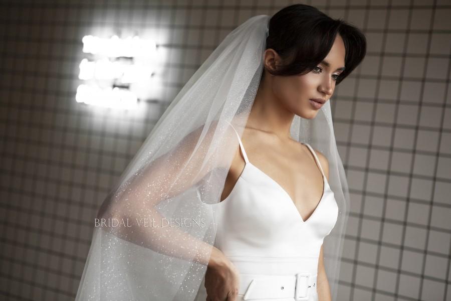 Hochzeit - Two-tier Glitter veil, sparkle bridal veil, long shimmer wedding veil