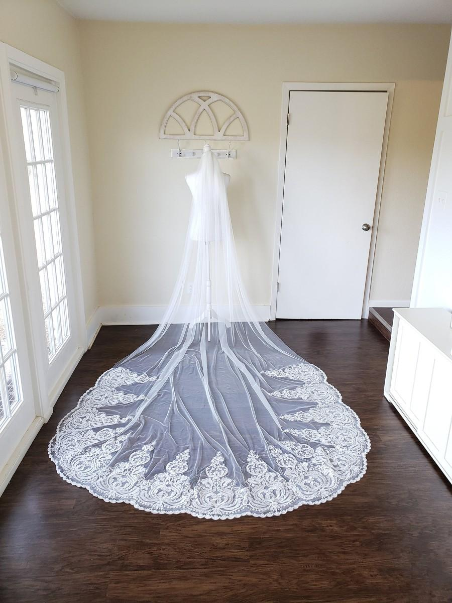 زفاف - Cathedral alencon lace with sequins one tier wedding veil, white, ivory, or blush, over 9 feet long